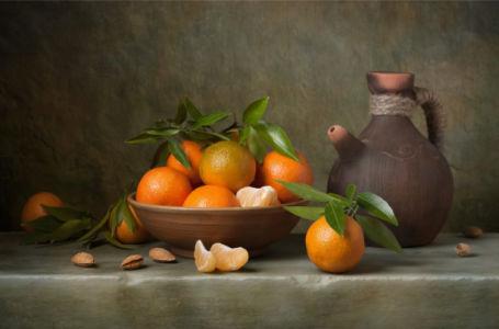 Фотообои Натюрморт с апельсинами в чашке (still-life-0088)