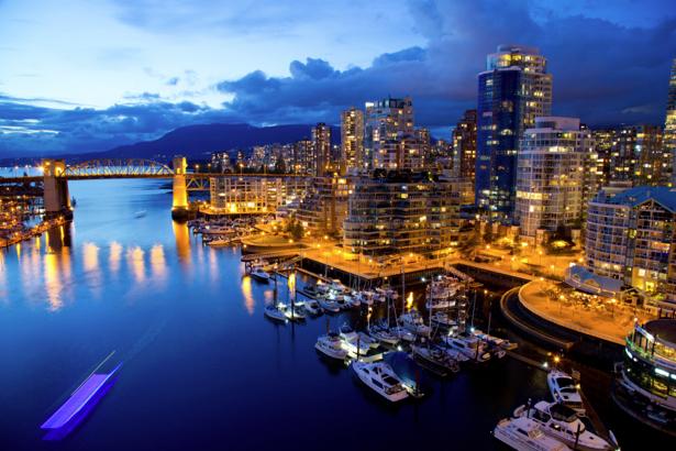 Фотообои вечерний городской порт (transport-0000173)