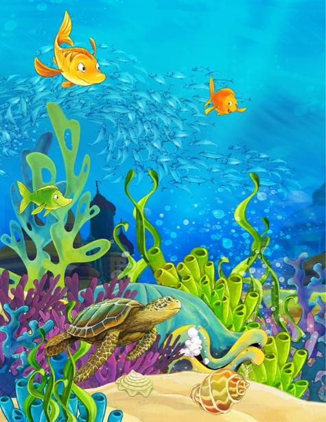 Фотообои для ванны под водой черепаха (underwater-world-00176)