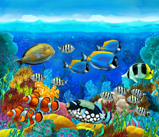 Фотообои для ванны рыбки и кораллы (underwater-world-00181)